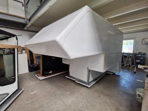 Bearbeitung Leerkabine transporter-GFK-Leerkabine transporter GFK Sandwich bau Platten Leerkabinenbau individuell