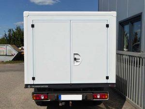 Ansicht Hinten Leerkabine transporter-GFK-Leerkabine transporter GFK Sandwich bau Platten Leerkabinenbau individuell